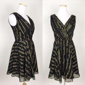 SHOSHANNA Black Silk Fit Flare Dress Gold Dots NYE